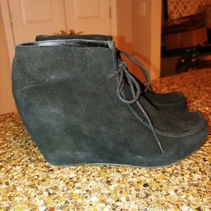 Dolce Vita black suede wedge booties lace up